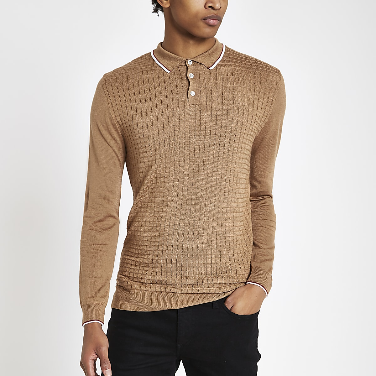 Camel slim fit grid textured polo shirt