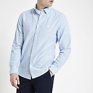 Blue stripe long sleeve Oxford shirt