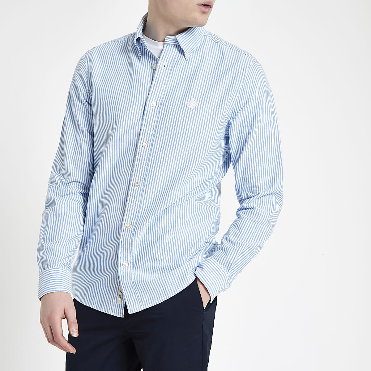 Blue stripe long sleeve Oxford shirt