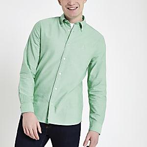 Mintgroen Oxford overhemd met lange mouwen