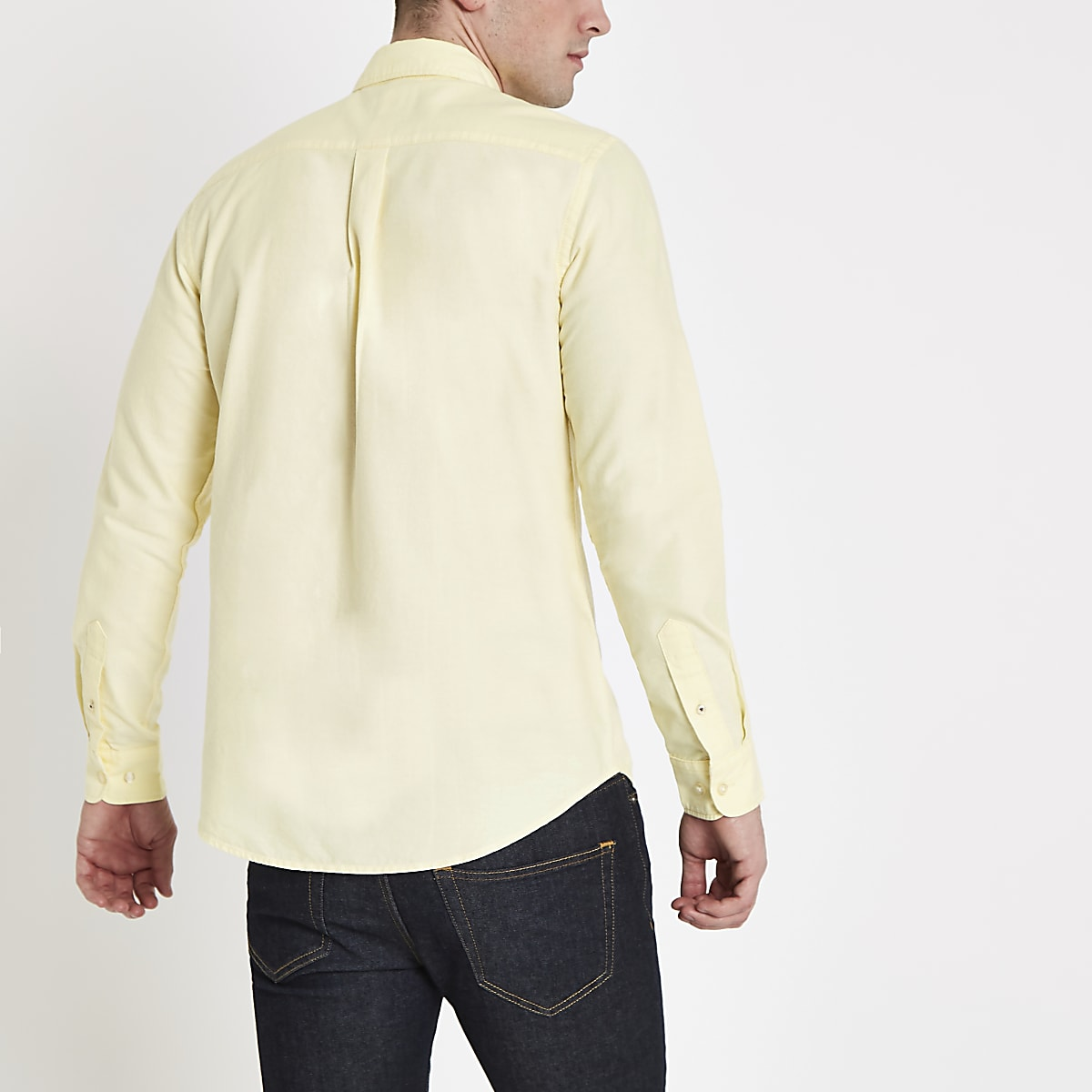 314050213a6 Yellow long sleeve Oxford shirt