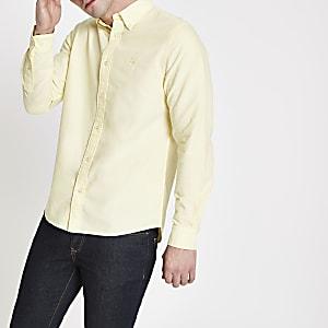 Chemise oxford jaune à manches longues