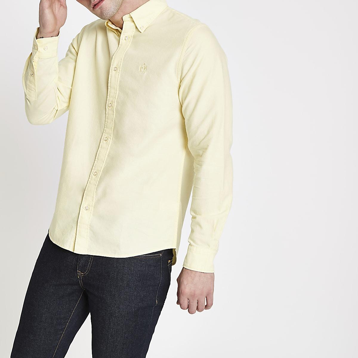 Chemise en oxford jaune à manches longues