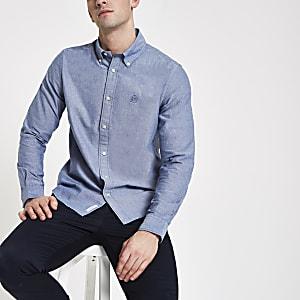 Marineblauw Oxford overhemd met lange mouwen