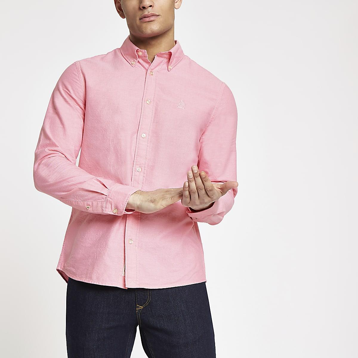 Roze Oxford overhemd met lange mouwen