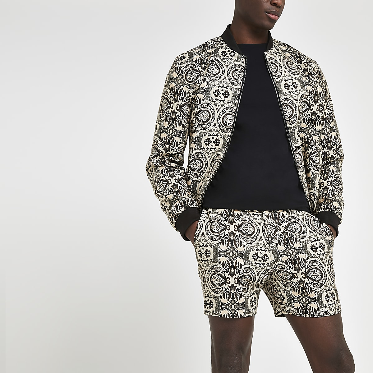 Ecru printed tailored shorts