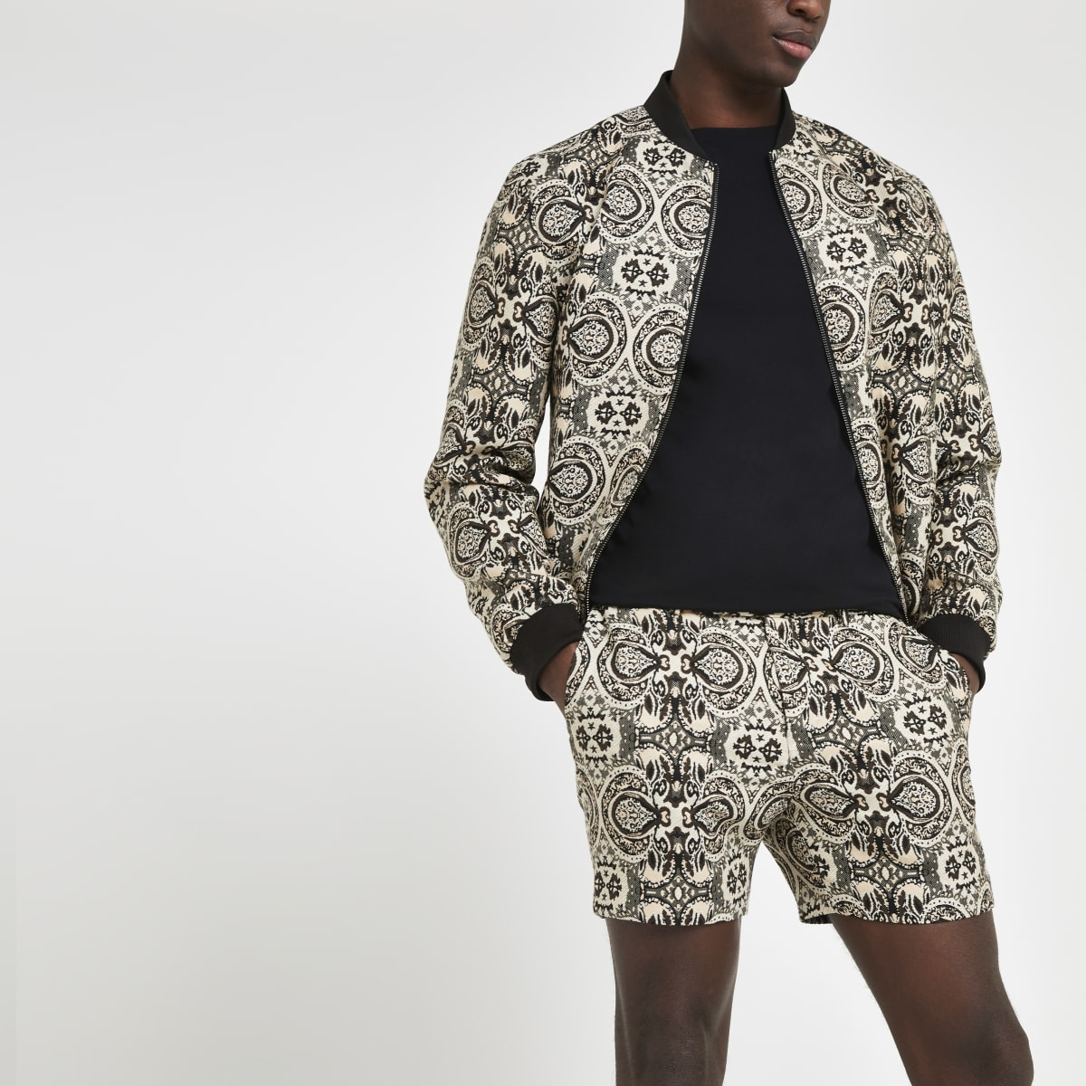 Ecru printed tailored shorts