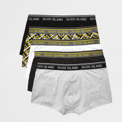 Yellow mixed print hipsters 5 pack