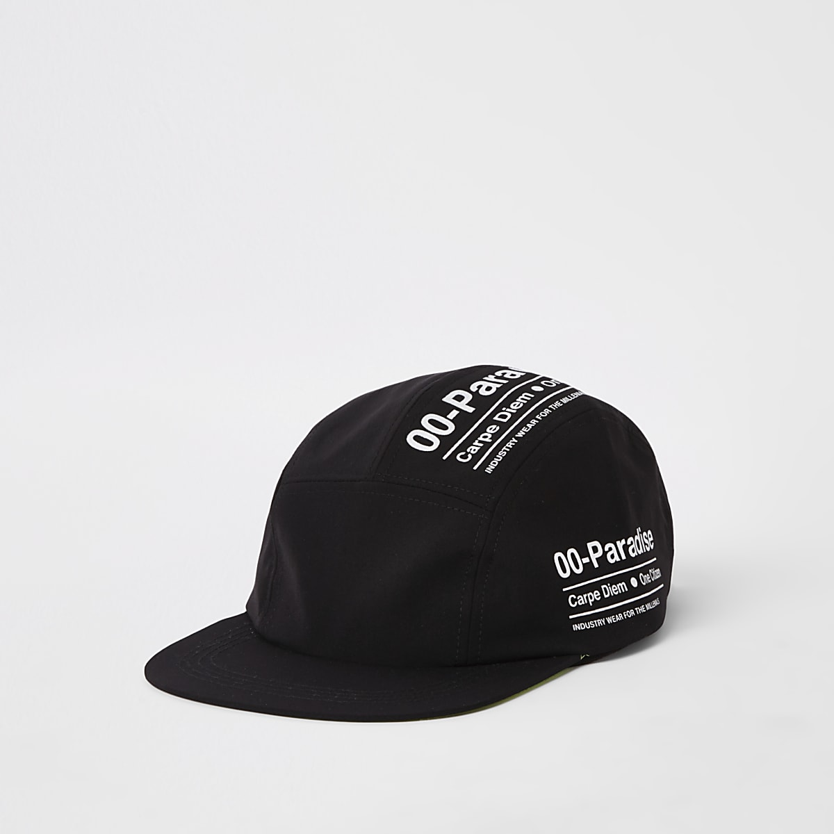 Black text print five panel cap