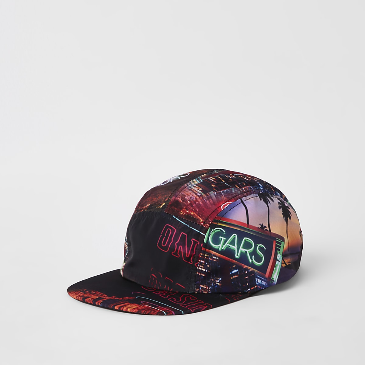 Black Vegas print five panel cap