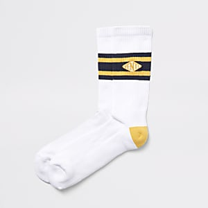 White 'Venti' tipped tube socks