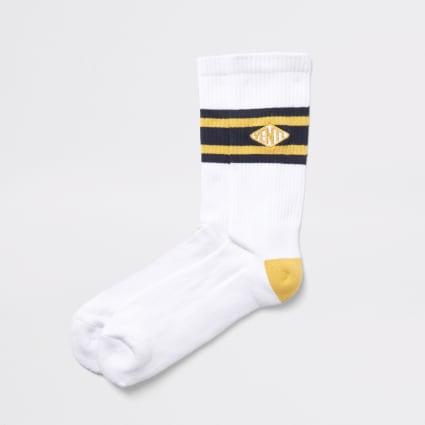 White 'Venti' tipped tube socks