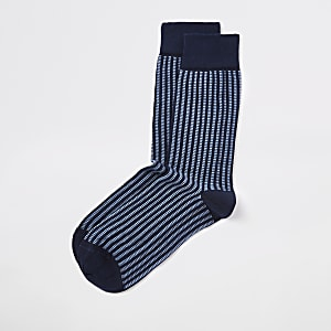 Marineblaue, gerippte Socken mit Geoprint