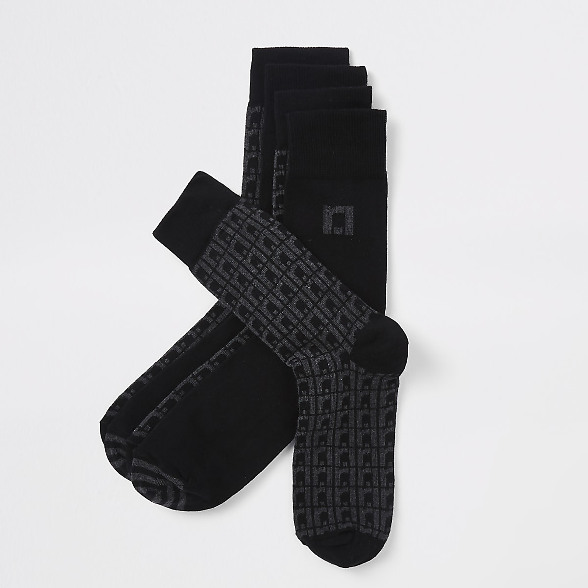 Grey RI monogram tube socks