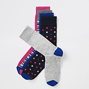 Marineblaue Socken mit Punkten und Streifen, 5er-Pack