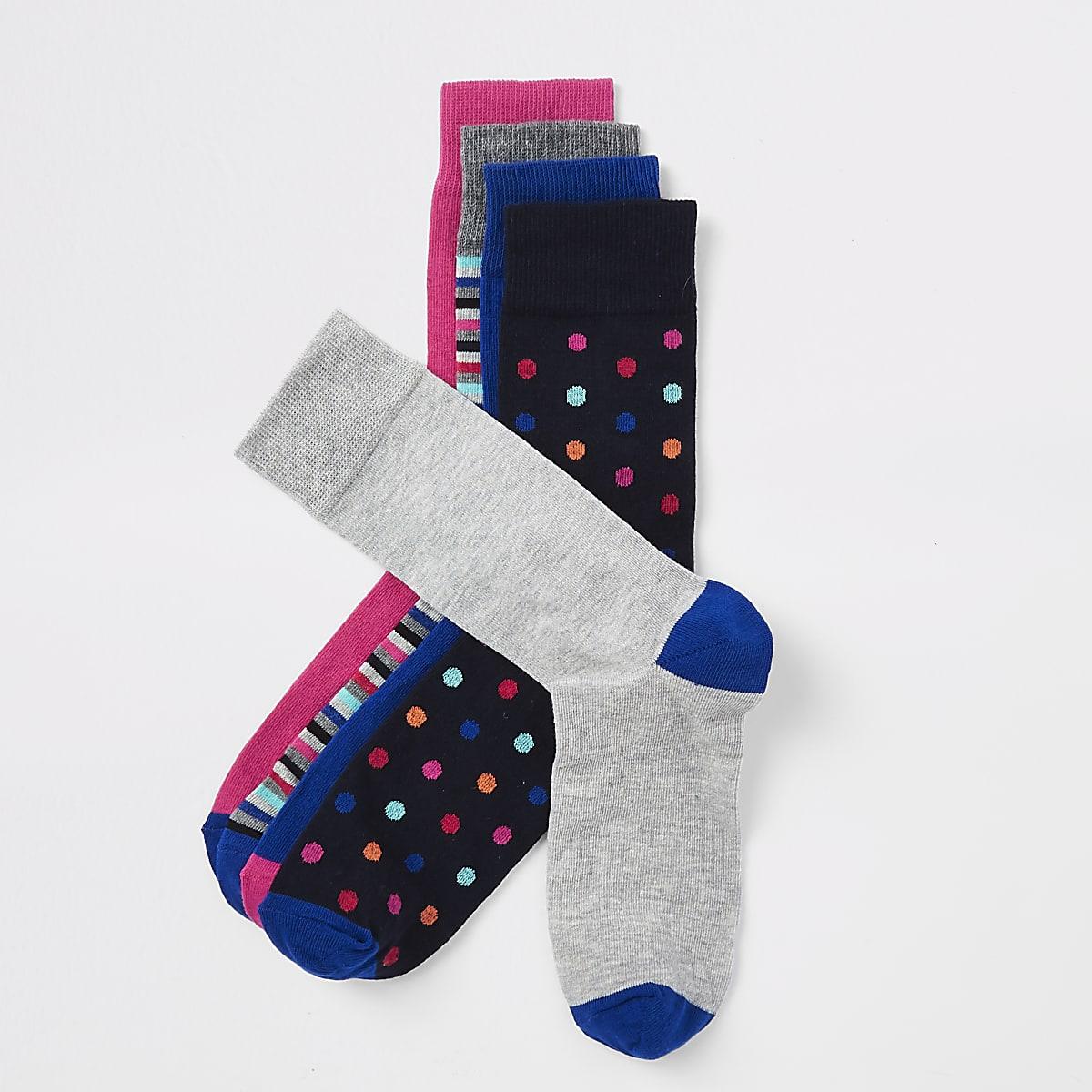 Lot de5 paires de chaussettes à rayures et pois bleu marine