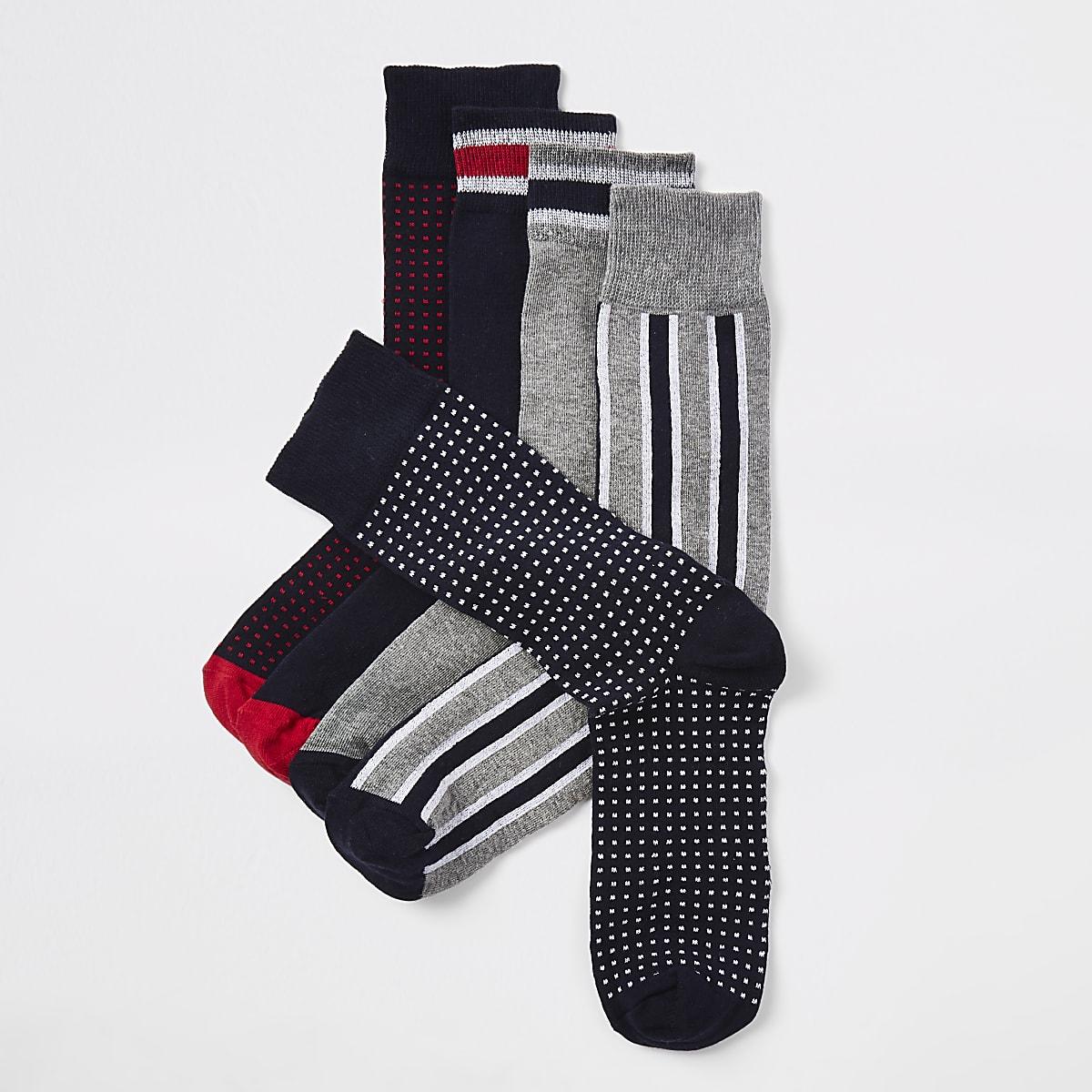 Navy mixed print socks 5 pack