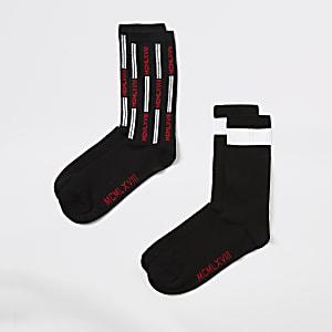 2 Paar zwarte sokken met 'MCMLXVIII'-print