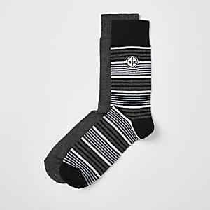 Graue, gestreifte Socken, 2er-Pack