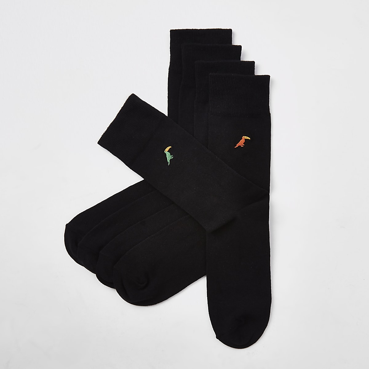Black toucan embroidered socks 5 pack
