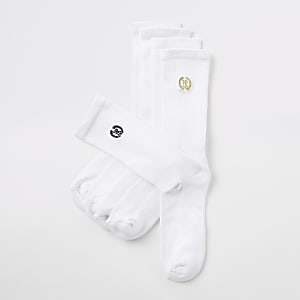 White RI crest tube socks 5 pack
