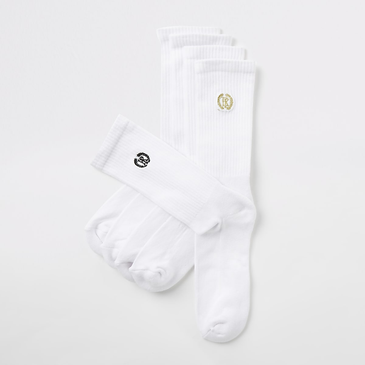 White RI crest tube socks 5 pack
