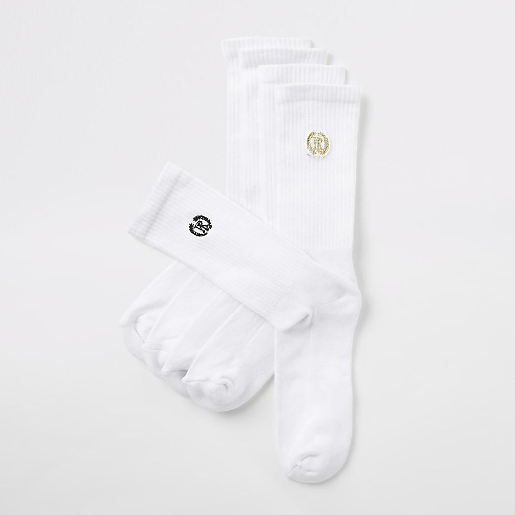 5 paar witte sokken met RI-logo