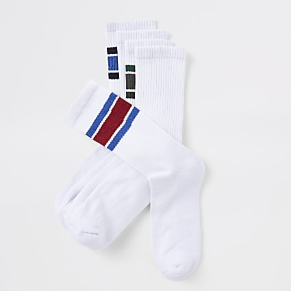 White tipped tube socks 5 pack