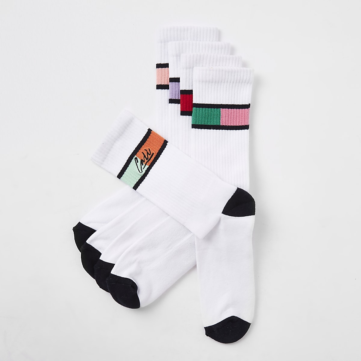 White 'Cali' tube socks 5 pack