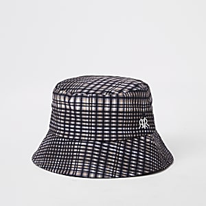 Grey check bucket hat