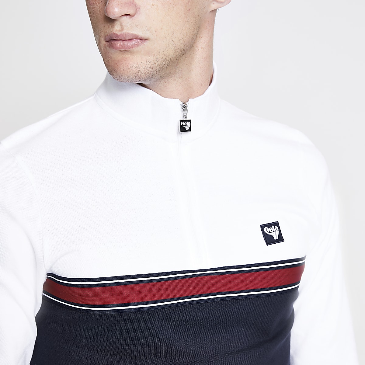 Gola white zip neck racer top