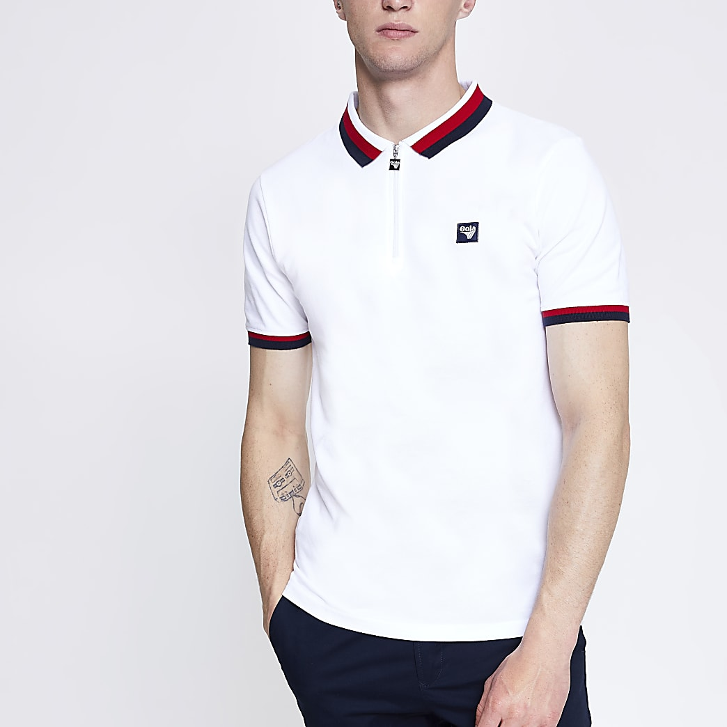 Gola white zip polo shirt