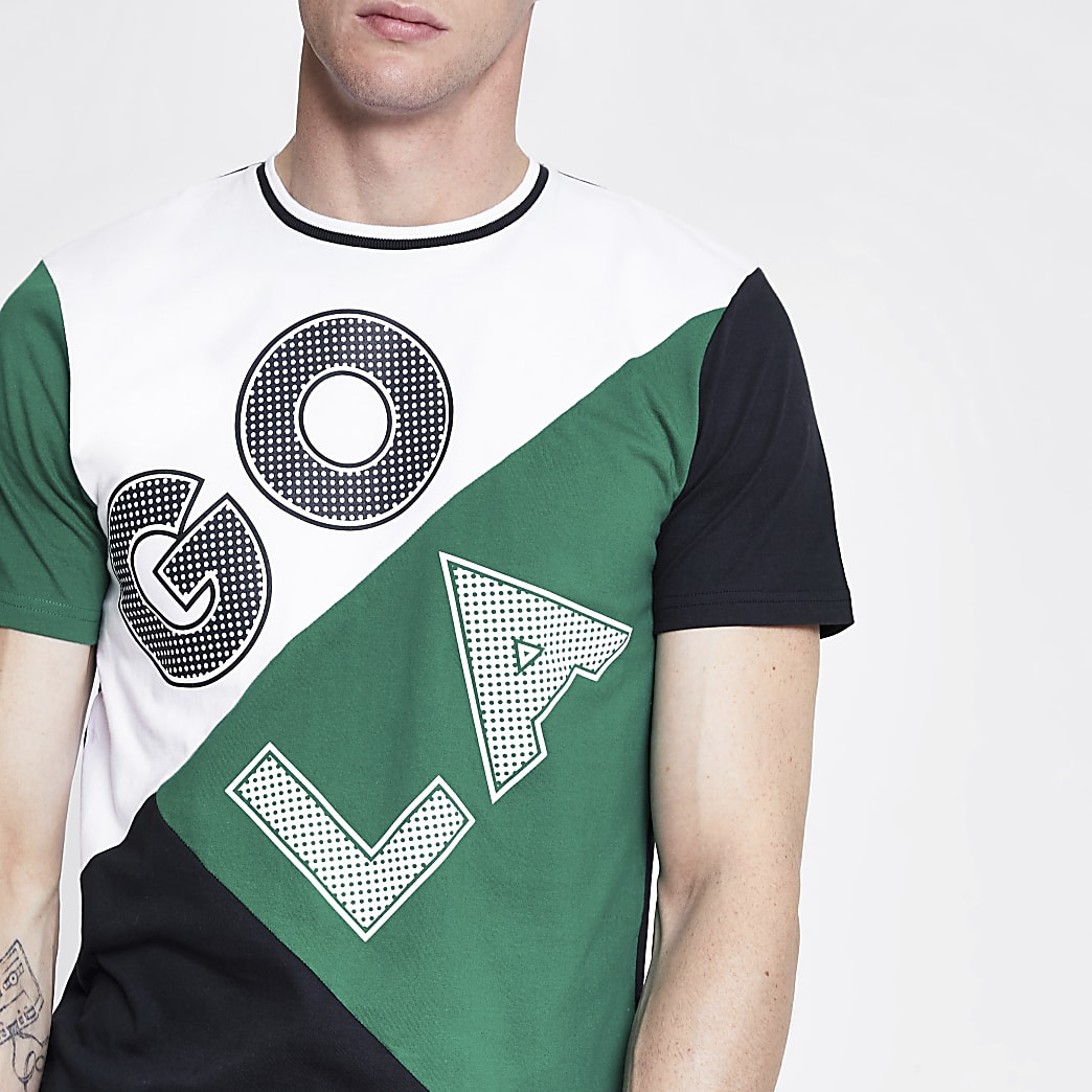 Gola green colour block logo T-shirt