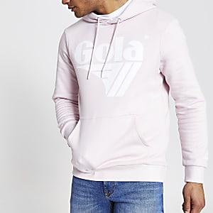 Gola – Sweat à capuche imprimé logo rose