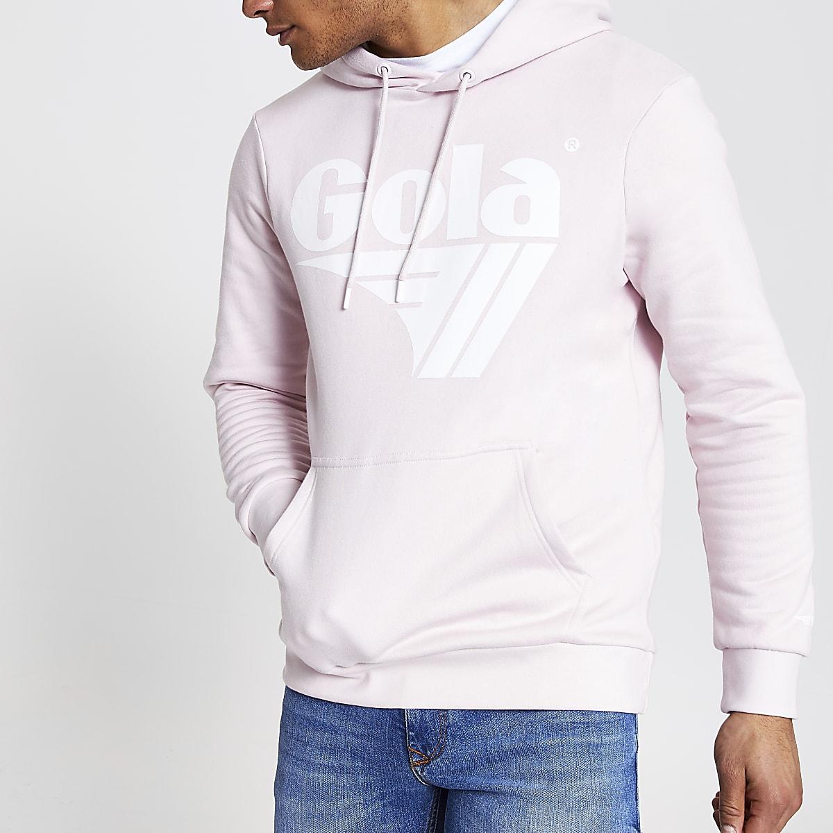 Gola pink logo print hoodie