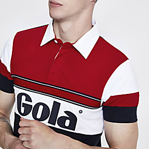 Gola navy button front logo polo shirt