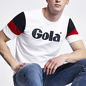 Gola – Weißes T-Shirt in Blockfarben