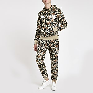 Money Clothing – Hellbraune Jogginghose mit Camouflage-Muster