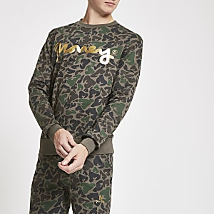 Money Clothing – Dunkelbraunes Sweatshirt mit Camouflage-Muster