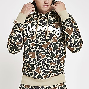 Money Clothing – Hellbrauner Hoodie mit Camouflage-Muster