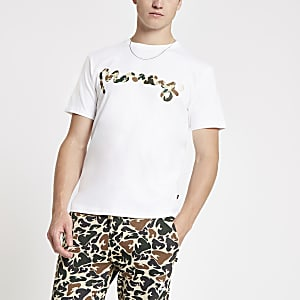 Money Clothing – T-shirt blanc à logo camouflage