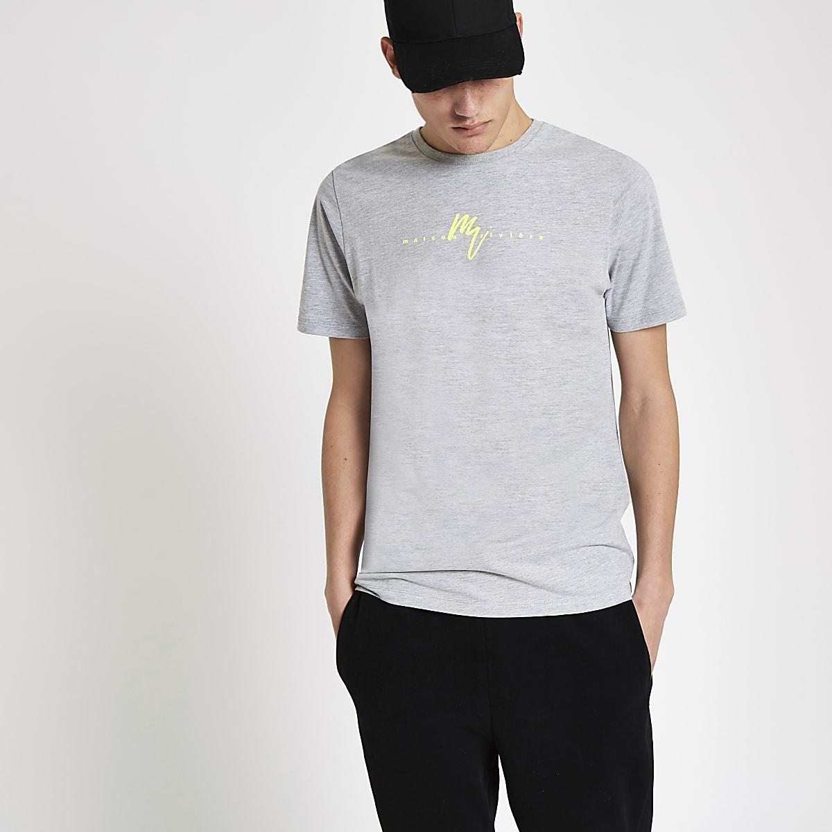 Grey slim fit 'Maison Riviera' neon T-shirt
