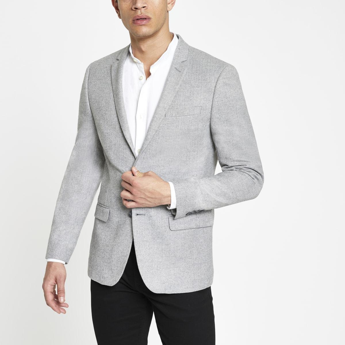 Blazer gris coupe skinny