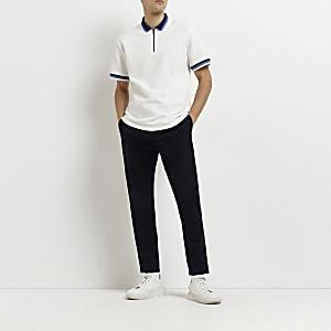 Marineblauwe skinny-fit chino broek