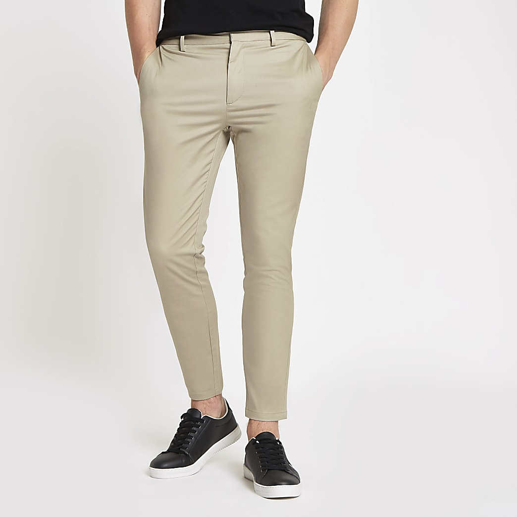 Stone smart skinny fit chino trousers