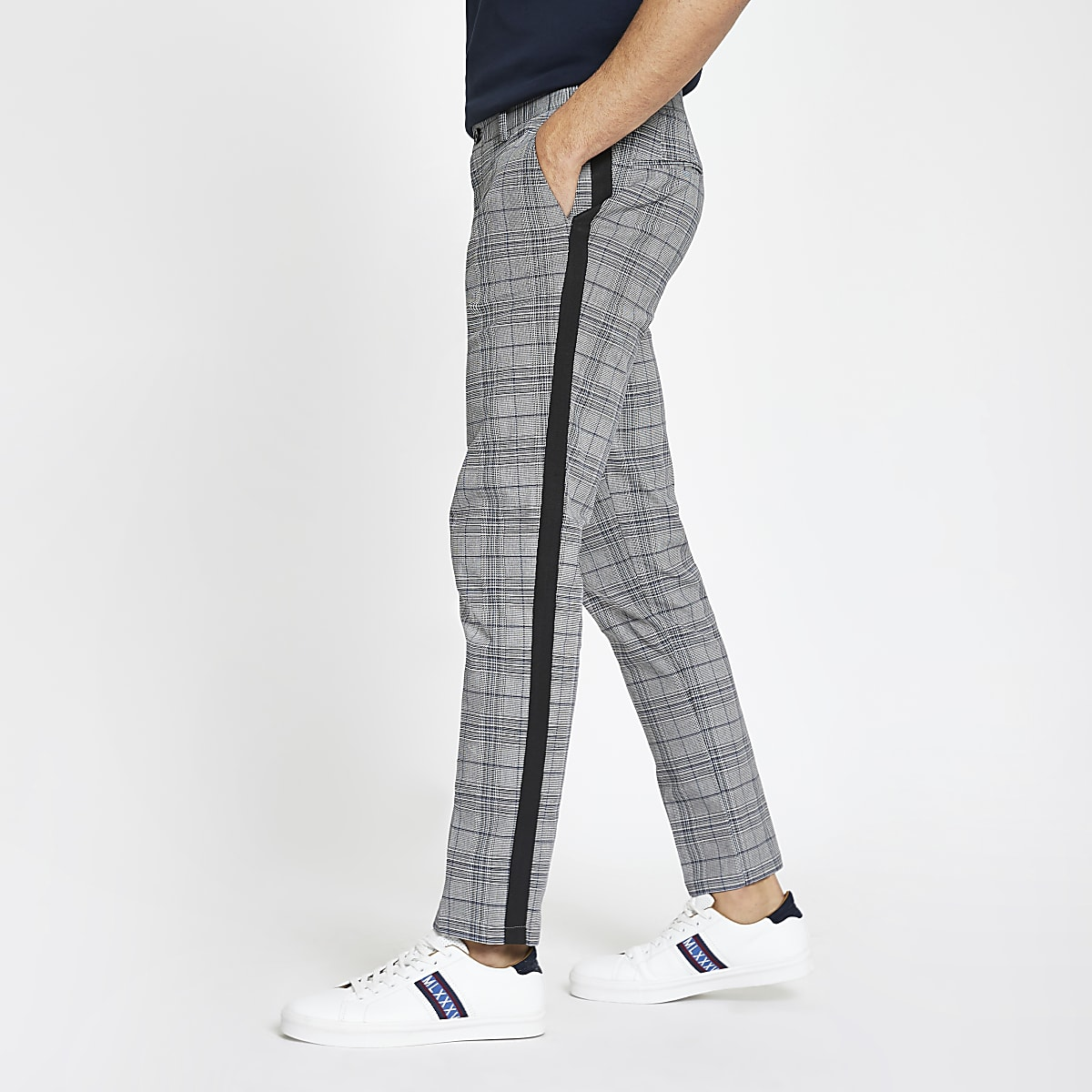 979d2ae009a Grey check tape skinny chino trousers - Chinos - Trousers - men