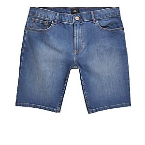 Big and Tall mid blue skinny denim shorts