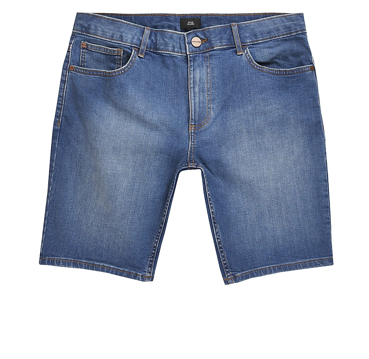 Big and Tall - Middenblauwe skinny denim short