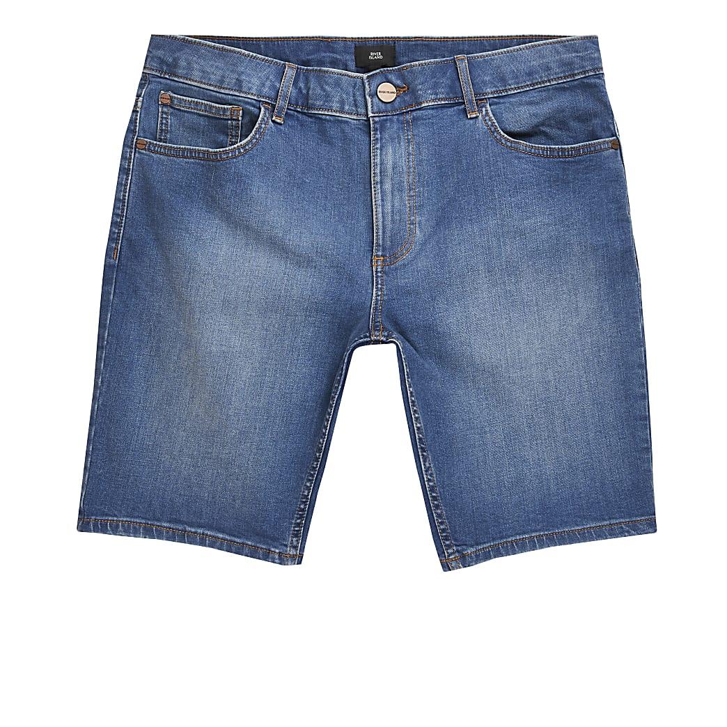 Big and Tall – Short en denim skinny bleu moyen