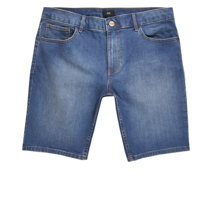 Big and Tall mid blue skinny denim shorts